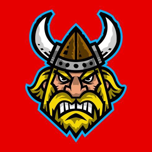 Illustration vectorielle d'une bande dessinée viking avec un casque à cornes et une barbe vecteur