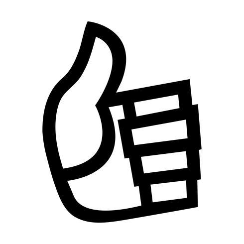 Main de dessin animé faisant un geste positif pouce en l'air vecteur