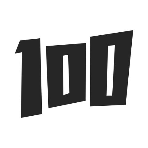 Numéro 100 / Cent graphiques de texte à la mode cool vecteur