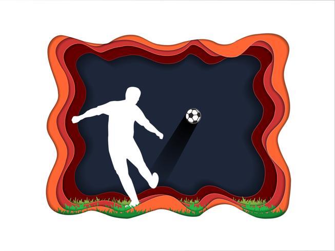 Art de papier découper de fond de football avec le joueur de football. vecteur