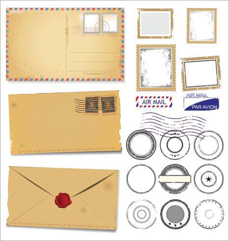 Design vintage rétro de carte postale vectorielle vecteur