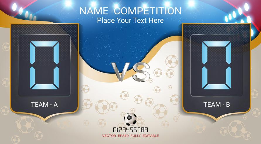 Tableau de bord numérique, équipe de football des équipes A et B. vecteur
