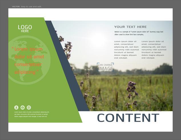 Présentation mise en page pour le modèle de page de couverture de verdure. vecteur