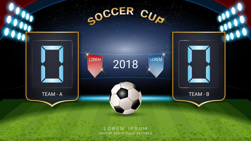 Coupe de football 2018, Tableau de bord numérique, Équipe de match de football A contre équipe B, Modèle graphique de diffusion de stratégie. vecteur