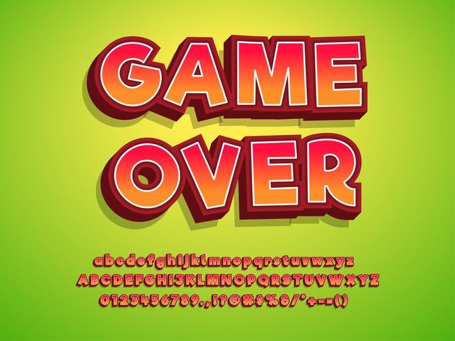 Effet de texte de logo de jeu de caractères 3D vecteur