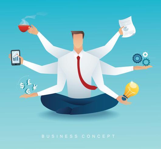 caractère d'hommes d'affaires multitâche travail acharné par six bras. concept de travailler dur vecteur