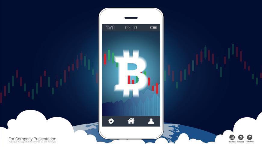 Concept de trading mobile avec bitcoin et chandelier graphiques sur écran. vecteur