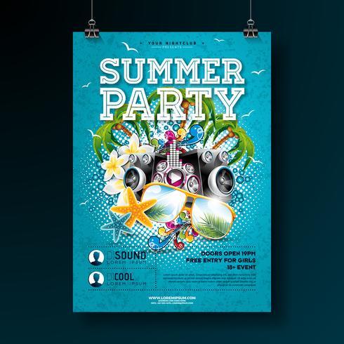 Vector Summer Party Flyer Design avec des lunettes de fleur, haut-parleur et soleil sur fond bleu de l'océan. Éléments floraux de nature estivale, plantes tropicales et éléments typographiques