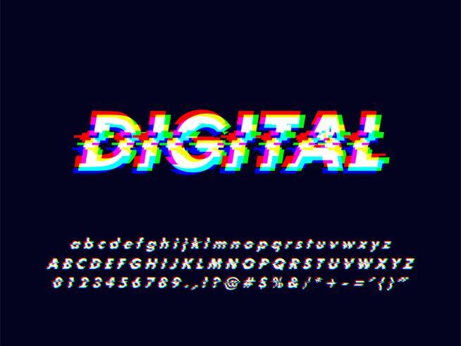 Glitches Rgb Screen Alphabet avec effet d'erreur vecteur