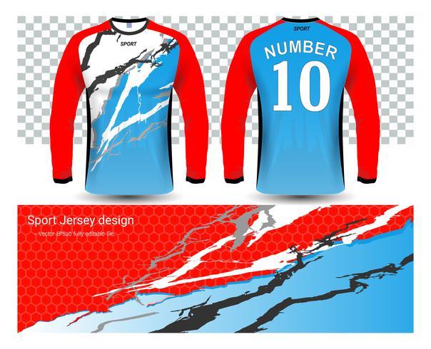 Modèle de maquette de t-shirts maillots de football à manches longues. vecteur