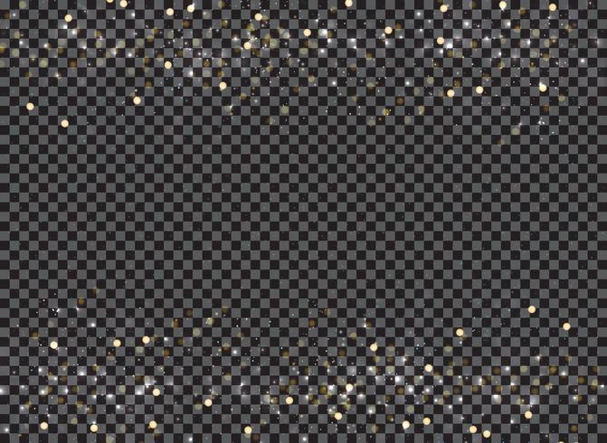 Bokeh abstraite et paillettes d'or en-tête sur fond transparent. vecteur
