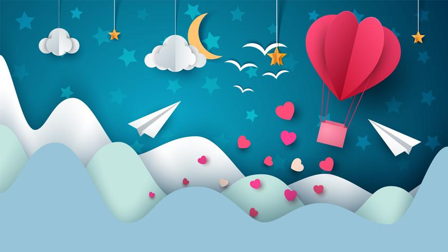 Illustration de la montgolfière. Paysage de papier dessin animé. vecteur