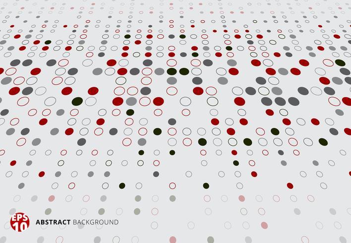 Modèle de demi-teinte abstraite dots perspective de couleur rouge, noir et gris sur fond blanc. vecteur