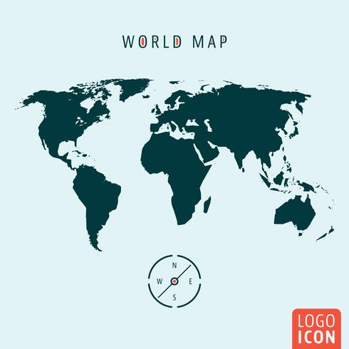 Icône de carte du monde isolé vecteur