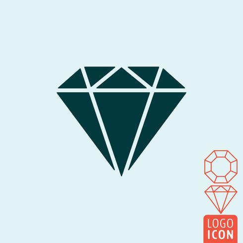 Icône de diamant isolé vecteur