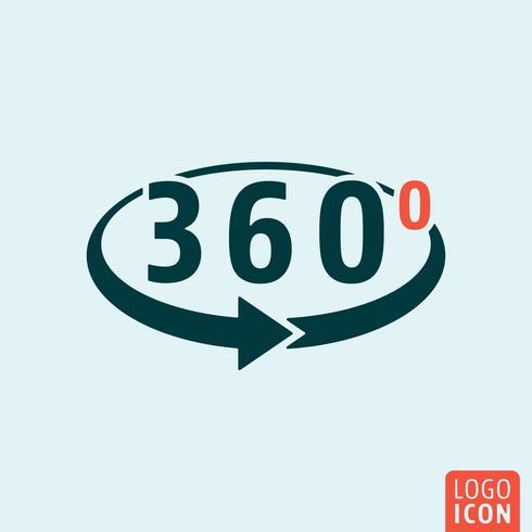 Angle 360 degrés icône isolé vecteur