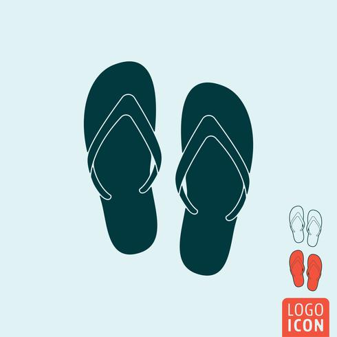 Icône de chaussons de plage isolé vecteur