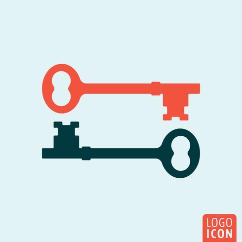 Icône clé isolée vecteur