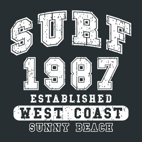 Impression vintage surf vecteur
