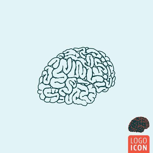 Icône de cerveau isolé vecteur