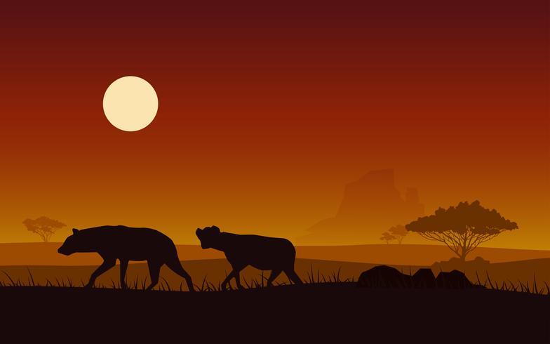 Hyène silhouette sur un coucher de soleil fond pour afrique vecteur