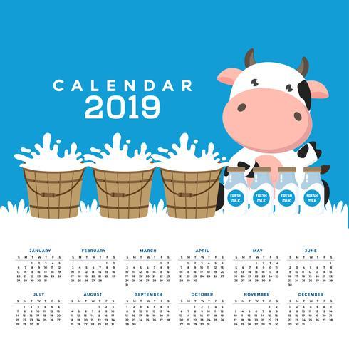 Calendrier 2019 avec des vaches mignonnes. vecteur