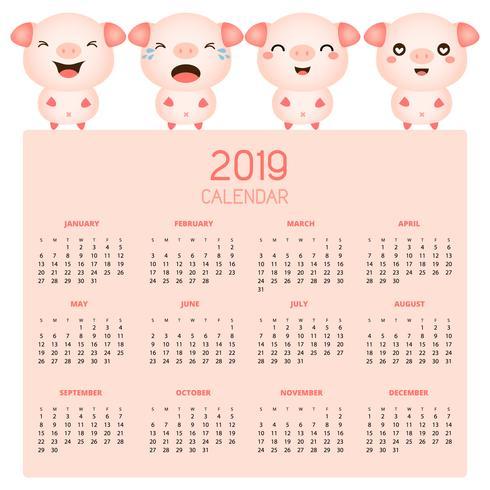 Calendrier 2019 avec des cochons mignons. vecteur