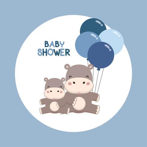 Carte d'invitation de fête de naissance. Hippopotame mignon avec dessin animé de ballons. vecteur