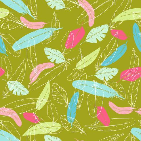 Modèle sans couture de vecteur avec des plumes de corbeau. couleur pastel