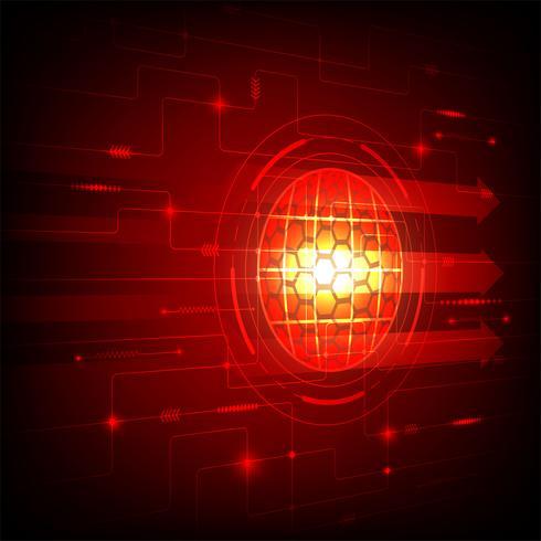Concept de technologie numérique de couleur rouge abstrait, illustration vectorielle vecteur