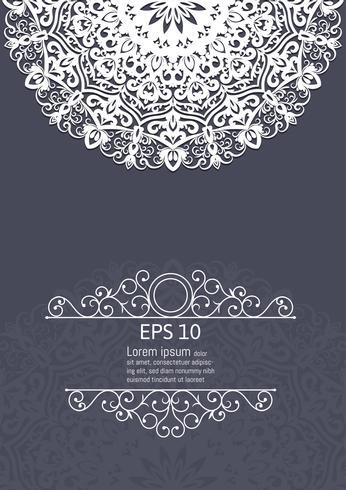 Éléments de décoration vintage mandala blanc vector illustration