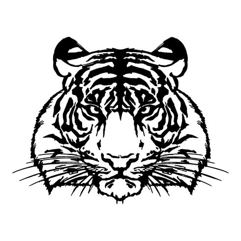 Tête de tigre dessin vectoriel silhouette.