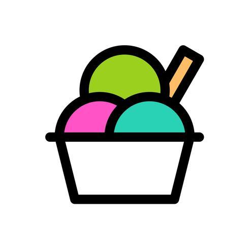 Vecteur de coupe de crème glacée, contour éditable icône remplis de bonbons