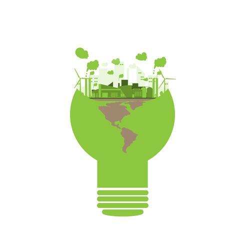 usine industrielle d'écologie dans un style ampoule vecteur