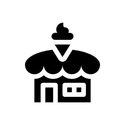 Illustration vectorielle de magasin de crème glacée, icône de style solide vecteur