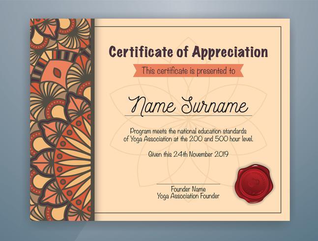 Modèle de certificat d'appréciation avec mandala brun vecteur
