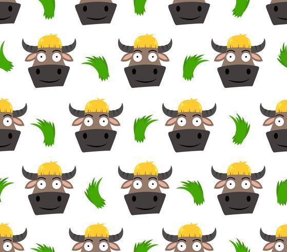 Modèle sans couture de dessin animé mignon buffalo avec de l'herbe isolé sur fond blanc - illustration vectorielle vecteur