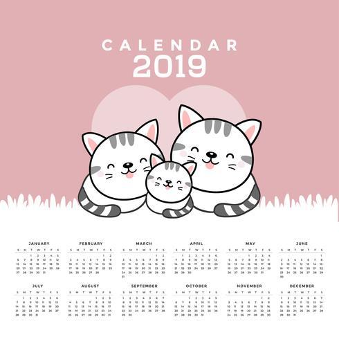 Calendrier 2019 avec des chats mignons. vecteur