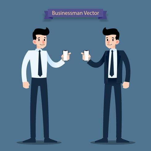 Homme d'affaires montrent un téléphone mobile à écran blanc dans sa main. Design plat illustration vectorielle. vecteur