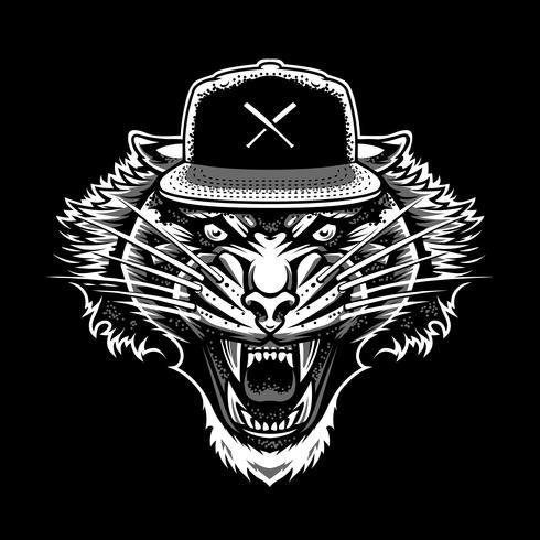 Rugissant tigre dans Snapback Vector Art