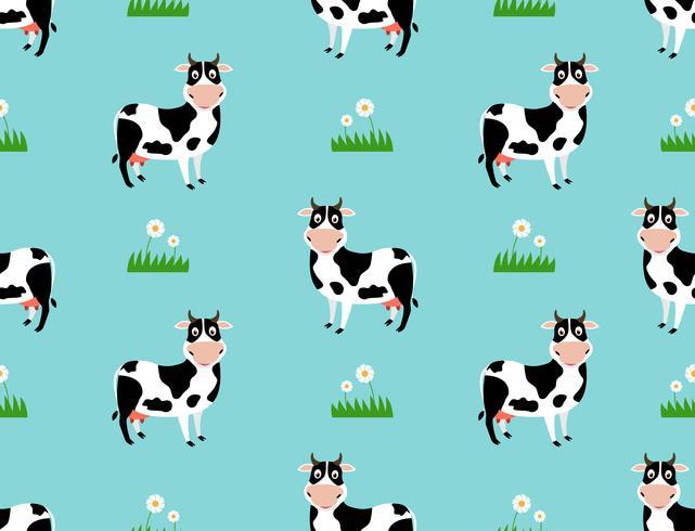 Modèle sans couture avec dessin animé vache mignonne sur fond de champ - illustration vectorielle vecteur
