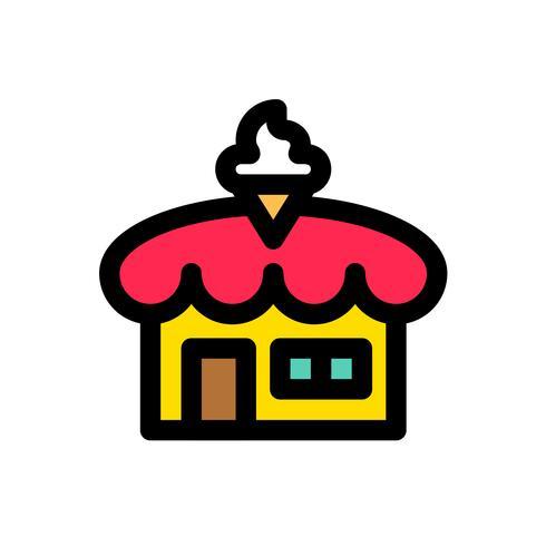 Vecteur de magasin de crème glacée, contour éditable d'icône remplie