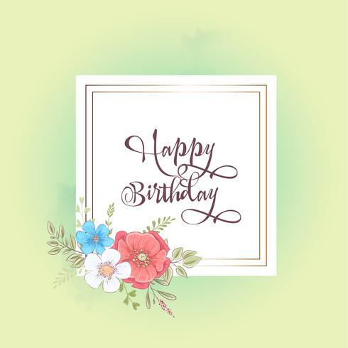 Modèle d'aquarelle pour une fête de mariage d'anniversaire avec des fleurs et un espace pour le texte. Dessin à main levée. Illustration vectorielle vecteur
