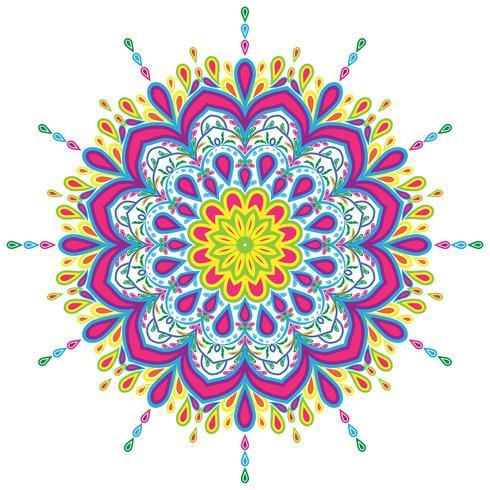 Éléments de décorations vintage mandala coloré vector illustration