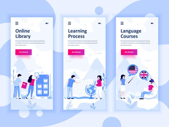 Ensemble de kit d'interface utilisateur d'écrans d'intégration pour bibliothèque, apprentissage, cours de langues, concept de modèles d'application mobile. UX moderne, écran d'interface utilisateur pour site Web mobile ou responsive. I vecteur