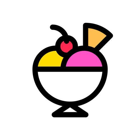 Vecteur de sundae de crème glacée, contour éditable icône remplis de bonbons