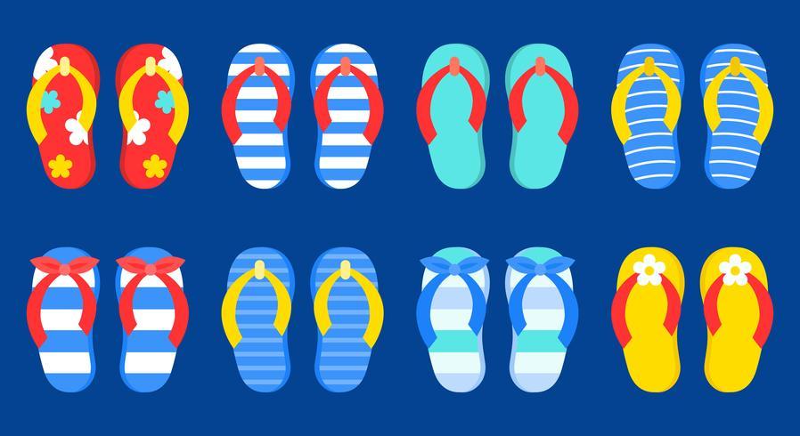 Ensemble d'icônes vectorielles de tongs d'été coloré vecteur