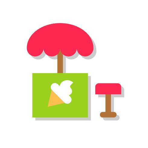 Illustration vectorielle de stand de crème glacée, icône de style plat vecteur