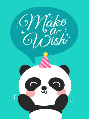 Panda fait un vœu vecteur