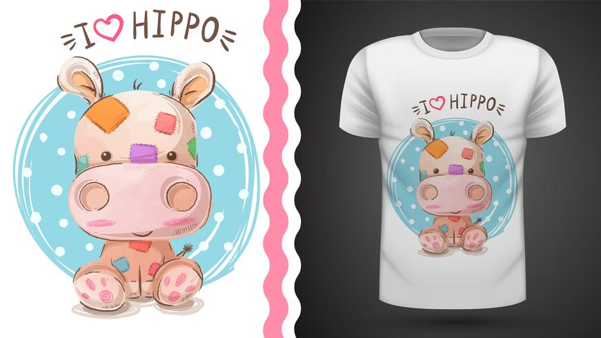 Hippo, hippopotamus - idée d'un t-shirt imprimé vecteur
